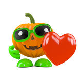 3d Pumpkin man has a heart Stock Image