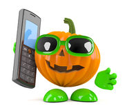 3d Pumpkin man has a mobile phone Stock Photo