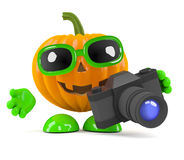 3d Pumpkin man has a new camera Stock Photography