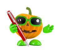3d Pumpkin man has a pen Royalty Free Stock Image