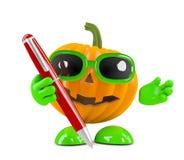 3d Pumpkin man has a pen Royalty Free Stock Image