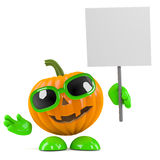3d Pumpkin man has a placard Stock Image