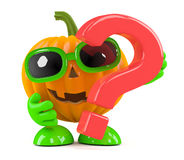 3d Pumpkin man has a question Stock Photos