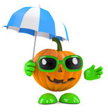3d Pumpkin man with his umbrella Royalty Free Stock Images