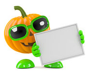3d Pumpkin man holds a blank banner Stock Photo