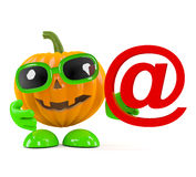 3d Pumpkin man holds an email address symbol Stock Images