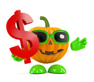 3d Pumpkin man holds a US Dollar symbol Stock Image