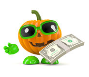3d Pumpkin man holds US Dollars Stock Photos