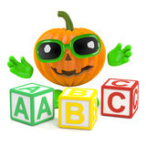3d Pumpkin man learns the alphabet Stock Photos
