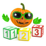 3d Pumpkin man learns to count Royalty Free Stock Photo