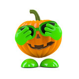 3d Pumpkin man is nervous Stock Photography