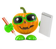 3d Pumpkin man with notepad and pencil Royalty Free Stock Image
