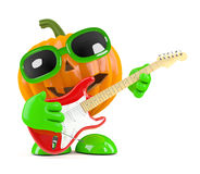 3d Pumpkin man plays electric guitar Royalty Free Stock Images