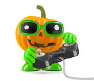 3d Pumpkin man plays a videogame Stock Image