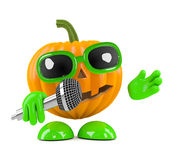 3d Pumpkin man sings into the microphone Stock Photography