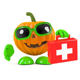 3d Pumpkin man supplies first aid Royalty Free Stock Photos