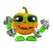 3d Pumpkin man works out with weights Stock Image