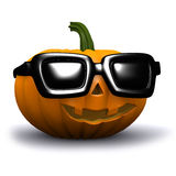 3d Pumpkin with sunglasses Royalty Free Stock Photo