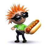 3d Punk eats a hot dog Royalty Free Stock Photos
