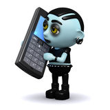 3d Punk goth chats on a mobile phone Royalty Free Stock Photos