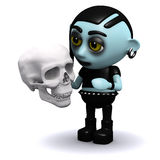 3d Punk goth considers mortality. 3d render of a punk goth holding a human skull Royalty Free Stock Images