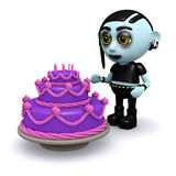 3d Punk goth has a purple cake Royalty Free Stock Photo