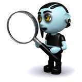 3d Punk goth with a magnifying glass Stock Photo