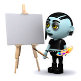 3d Punk goth is very artistic. 3d render of a punk goth painting a picture on an easel Stock Photos