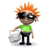 3d Punk kid goes shopping Royalty Free Stock Photo