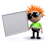 3d Punk kid has a blank banner Royalty Free Stock Photo