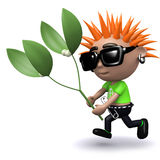 3d Punk kid has some mistletoe Stock Photos