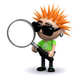 3d Punk kid looks through a magnifying glass Royalty Free Stock Photos