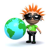 3d Punk looks at a globe of the Earth Stock Photography