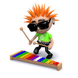 3d Punk playing a xylophone Royalty Free Stock Images