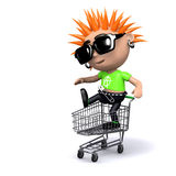 3d Punk in a shopping trolley Royalty Free Stock Photography