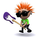 3d Punk smashes guitar Royalty Free Stock Image