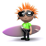 3d Punk with surfboard Stock Photo