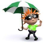 3d Punk under an umbrella Stock Images