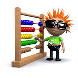 3d Punk using an abacus. 3d render of a punk with an abacus Royalty Free Stock Images
