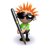 3d Punk writing with a pen Stock Photography