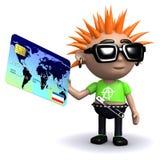 3d Punkowy dzieciak płaci z kredytową kartą Obraz Stock