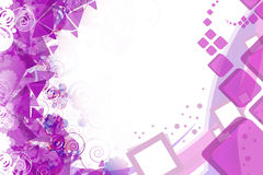 3d puple square with geometric shape right side, abstract background Stock Photo