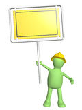 3d puppet-builder with emergency sign. Isolated on white background Royalty Free Stock Photo