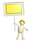 3d puppet-builder with emergency sign. Isolated on white background Stock Photos