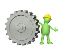 3d puppet with cogwheel. 3d puppet with gear. Isolated on white background Stock Photography