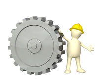 3d puppet with cogwheel. 3d puppet with gear. Isolated on white background Stock Photo