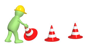 3d puppet with emergency cones. Isolated on white background Stock Photos