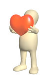 3d puppet, holding in hands red heart Royalty Free Stock Images