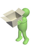 3d puppet with opened box Royalty Free Stock Image