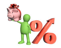3d puppet with piggy bank and percent symbol Stock Photos